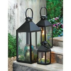 Revere Black Metal Pillar Candle LANTERN Candleholder Clear Glass | eBay