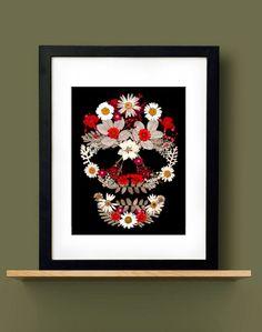 Crimson Flower Skull
