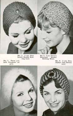 """Fabulous vintage knitting patten for truban style hats in 8 diffeerent variations, knitted in 4ply, double knitting and angora (4ply). So easy to knit just a strip of brioche rib that is secured to a gold ring (curtain) about 1"""" in diameter.If you cannot crochet the ends to the ring, you can oversew them on to cover the gold ring.Most of  the designs requre 20z or 60g of wool."""
