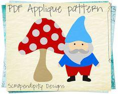 Gnome Applique Pattern - Mushroom Applique Template / Secret Garden Applique Quilt Pattern / Kids Gnome Party / Birthday Printable by ScrapendipityDesigns, $2.50