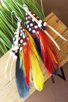 Vibrant Black Yellow Red Polka Dot Feather Earrings Bohemian Jewelry Women Teen GIrls on Etsy, $9.95