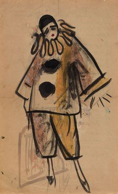 """UFIMTSEV, VIKTOR (1899-1964)  1.  Pierrot, inscribed with a poem, signed and dated in Cyrillic """"Samarkand 10/II. 1927"""" on the reverse. Black ink and watercolour on paper, 35 by 21.5 cm"""