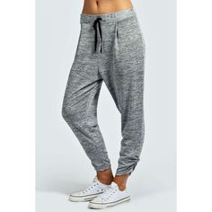 Boohoo Basics Katie Knitted Jogger (280 MXN) ❤ liked on Polyvore featuring activewear, activewear pants, grey and track pants