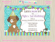 Puppy party invitation dog birthday invitation chihuahua dog puppy birthday invitation puppy party invitation puppy invitation diy print your own matching party filmwisefo Choice Image
