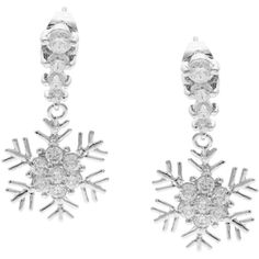 Kate Bissett Silvertone Cubic Zirconia Snowflake Drop Earrings ($19) ❤ liked on Polyvore featuring jewelry, earrings, white, dangle earrings, long dangle earrings, cz dangle earrings, drop dangle earrings and butterfly charm
