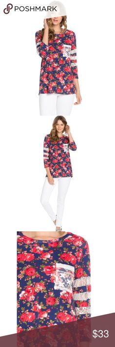 SALE TODAY ONLY Floral Pattern Top Floral printed top with crochet lace detail. Colors include navy blue, reds, and pink. 100% manufactured and made in the USA. True to USA size charts. Material content is 96% Rayon, and 4% Spandex. Tops