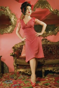 Pinup Couture - Anna Polka Dots Red dress