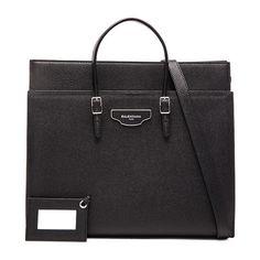 Balenciaga Medium City Plate Portfolio ($2,295) ❤ liked on Polyvore featuring bags, handbags, man bag, leather handbag purse, leather handbags, leather bags and pocket purse