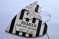 Family heart plaque - Black and white hearts - Striped hanging decoration - Family gift by FrivolousCrafts on Etsy