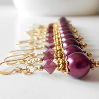 Beaded Earrings Bridesmaid Jewelry Garnet Pearl Dangles Antiqued Gold Plum Wedding Jewelry Bridesmaids Earrings