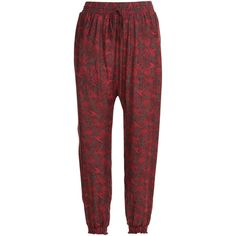 Anna Sui Printed Harem Pants ($125) ❤ liked on Polyvore featuring pants, bottoms, multicolor, silk camisole, silk evening pants, colorful pants, harem pants and silk drawstring pants