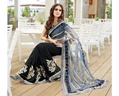 a1215a1515 Buy Vishal Prints Grey and Black Net Georgette Saree at lowest price  EthnicKurtis