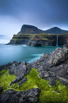 Gasaldalur Fall, Faroe Islands, North Atlantic, Denmark.