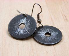Black Dangle Earrings Hardware Jewelry Black Textured Industrial Washers