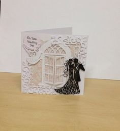 Wedding card using tattered lace dies Wedding Day Cards, Wedding Shower Cards, Wedding Cards Handmade, Wedding Anniversary Cards, Shilouette Cameo, Tattered Lace Cards, Hand Made Greeting Cards, Spellbinders Cards, Window Cards