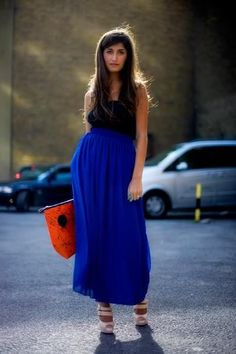 long blue maxi skirt