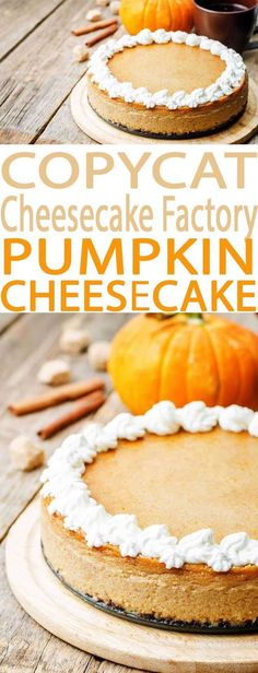 Everyone loves this Pumpkin Cheesecake Factory Copycat Recipe. It's just lik… Everyone loves this Pumpkin Cheesecake Factory Copycat Recipe. It's just like the restaurant's pumpkin cheesecake and is an easy to make recipe. Pumpkin Cheesecake Recipes, Brownie Desserts, Oreo Dessert, Pumpkin Dessert, Mini Desserts, Fall Desserts, Just Desserts, Dessert Recipes, Desserts Menu