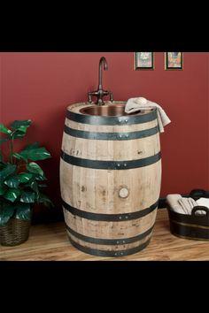 Whiskey barrel sink. LOVE!