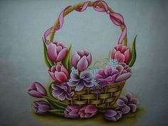 Cesto de tulipas (Raquel) | por Raquel - Pintando o 7