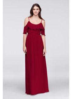 Cold-Shoulder Crinkle Chiffon Bridesmaid Dress F19508