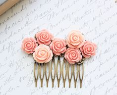 Bridal Hair Comb Pink Rose Peach Floral Collage Country Chic Flower Hair Comb Spring Wedding Hair Accessories French Style Rose Garden