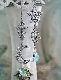 Moon and Stars Asymmetrical Earrings