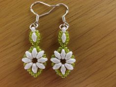 White Oval Super Duo & Lime Green Glass Beaded Dangle Earrings on Silver Hooks