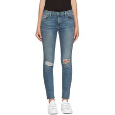Frame Denim Blue Le Skinny de Jeanne Jeans ($255) ❤ liked on Polyvore featuring jeans, blue, faded skinny jeans, blue skinny jeans, super stretch skinny jeans, stretchy skinny jeans and ripped jeans