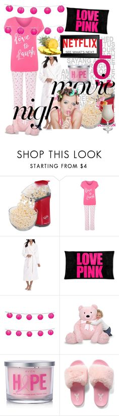 """""""movie night"""" by princhelle-mack ❤ liked on Polyvore featuring Presto, Kim Rogers, Victoria's Secret, LumaBase, Avon, Forever 21, Identity and Disney"""