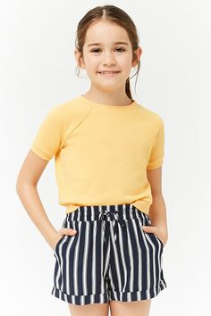 Product Name:Girls Striped Shorts (Kids), Category:BackInStock, - Mia Clothes - Preteen Girls Fashion, Girls Fashion Clothes, Kids Outfits Girls, Cute Girl Outfits, Cute Outfits For Kids, Cute Summer Outfits, Kids Fashion, Teenage Outfits, Fall Fashion