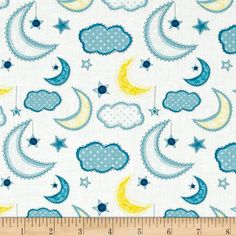 Dream A Little Dream Night Sky White from @fabricdotcom  Designed by Heather Rosas for Camelot Fabrics, this fabric is perfect for quilting, apparel and home decor accents. Colors include shades of blue with yellow on white.