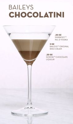 Pour 2 oz Baileys™ The Original Irish Cream Liqueur, oz Smirnoff™ No. 21 Vodka, oz Godiva™ Chocolate Liqueur, and ice into a shaker. Give it a good shake until you've got a smooth liquid. Strain into a martini glass and add a chocolate garnish Fancy Drinks, Bar Drinks, Cocktail Drinks, Yummy Drinks, Beverages, Baileys Drinks, Dessert Drinks, Vanilla Vodka Drinks, Disney Cocktails