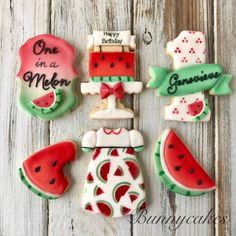 Watermelon themed decorated sugar cookies for baby's first birthday Watermelon Sugar Cookies, Rainbow Sugar Cookies, Best Sugar Cookies, Baby Cookies, Royal Icing Cookies, Cupcake Cookies, First Birthday Cookies, Birthday Cake, Harry Styles Birthday