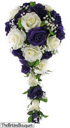 TheBridesBouquet.com - Purple and Ivory Silk Rose Cascade - Bridal Wedding Bouquet, $44.99 (http://www.thebridesbouquet.com/purple-and-ivory-silk-rose-cascade-bridal-wedding-bouquet/)