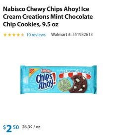 Nabisco chips ahoy mint chocolate chip cookies