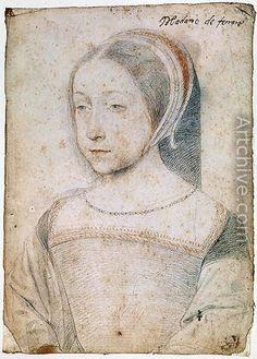 Renée de France (1510 - 1574), Duchess of Ferrara, daughter of the king Louis XII, wife of Ercole II d'Este (1508 - 1559), Duke of Ferrara who was the son of Lucrezia Borgia.