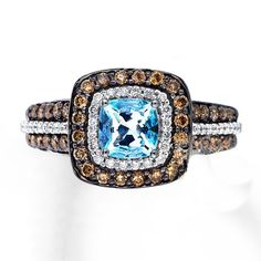 Coco Chocolate and Blue Cocktail Engagement Ring 925 Sterling Silver Cubic Zirconia Ring
