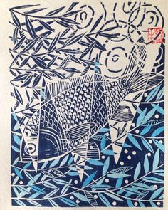 "What do fish daydream about?   ""Daydreaming"" 15 x 20cm, 8000yen, shipping fees included. Visit my website for the backstory!"