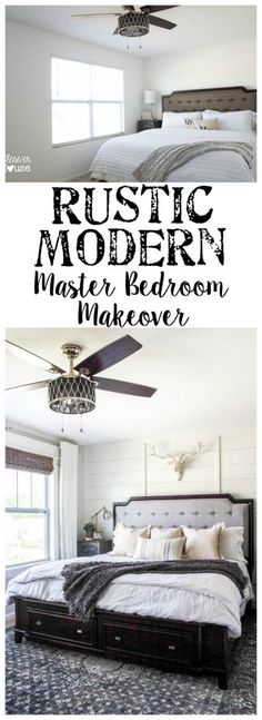 Rustic Modern Master Bedroom Reveal + Sources | blesserhouse.com - A plain white, boring builder grade space gets a rustic modern master bedroom makeover using DIY home improvement tricks and decor shopping on a budget.