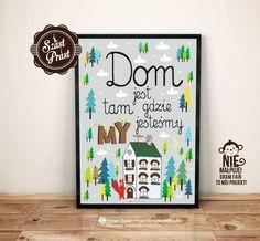 Plakat Dom szary NEW - Duży - Szast-i-Prast - Plakaty dla dzieci