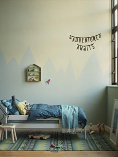 Image of child's bedroom with green coloured walls and mountain sierra effect for Crown Paints, styled by Sally Cullen Classic Wall Paint, Bathroom Feature Wall, Stairs In Kitchen, Ideal Home Show, Cds, Mountain Designs, Paint Brands, Blue Walls, Beautiful Space