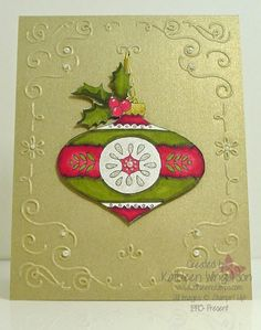 Christmas card made with the Christmas Bauble stamp set and the Old Olive and Cherry Cobbler Blendies from Stampin Up by Kathleen Wingerson  www.kathleenstamps.com