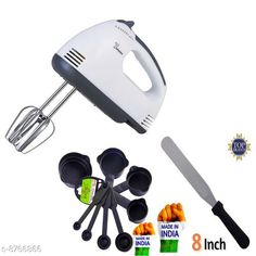 Checkout this latest Blender Product Name: *GreenFinch Hand Mixer Beater Blender Electric Cream Maker for Cakes with Base 7 Speed Control and 2 Stainless Steel Beaters, 2 Dough Hooks (White) and Dough Hooks  with 8  Measuring Cups and cake knife* Pack: Pack of 1 Sizes:  Free Size Country of Origin: India Easy Returns Available In Case Of Any Issue   Catalog Rating: ★3.8 (235)  Catalog Name: Check out this trending catalog CatalogID_1497795 C104-SC1483 Code: 878-8766866-9971