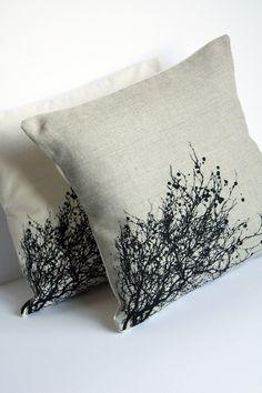 Linen silk screened pillow - black trees, from minimonos