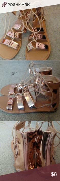 Gold tie up sandals Brand new Rue 21 sandals  Never worn  Size L 8/9 Rue21 Shoes Sandals