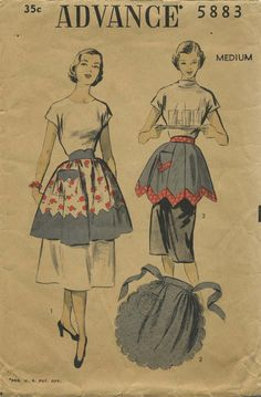 Vintage Apron Sewing Pattern | Advance 5883 | Year 1951 | Size Medium