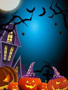 fondo de halloween noche azul Halloween Retro, Halloween Imagem, Feliz Halloween, Halloween Poster, Halloween Painting, Halloween Party Costumes, Diy Halloween Decorations, Spooky Halloween, Halloween Pumpkins