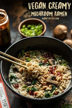 This incredibly simple Vegan Creamy Mushroom Ramen is a rich and flavorful 15 minute meal that only requires a handful of ingredients! BudgetBytes.com #vegan #mushrooms