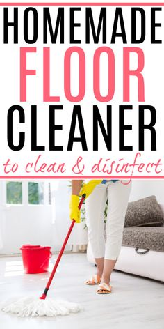 Looking for a DIY floor cleaner that's great for tile and laminate? Check out this easy to make homemade floor cleaner. It cleans and disinfects. Homemade Floor Cleaners, Diy Floor Cleaner, Diy Cleaners, Household Cleaners, Cleaning Recipes, House Cleaning Tips, Cleaning Hacks, All Natural Cleaning Products, Diy Cleaning Products