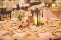 Rent lanterns for an easy, simple DIY wedding centerpiece